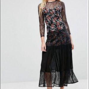 NWT ASOS Ditsy Floral & Lace Maxi Dress